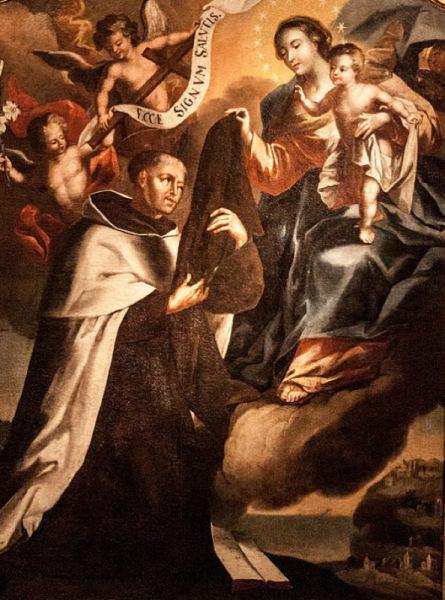 Stettner Sebestyén: Stock Szent Simon átveszi a skapulárét  a Kármelhegyi Boldogasszonytól (1740)