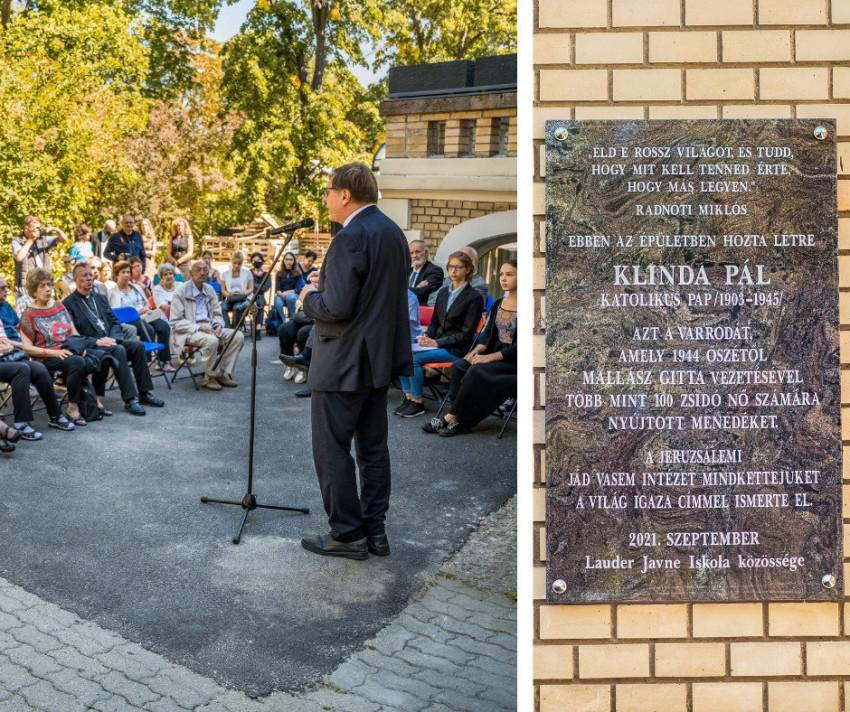 A zsidómentő Klinda Pál katolikus papnak állítottak emléktáblát Budapesten