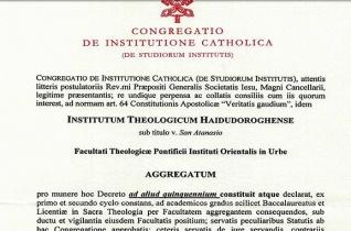 Újabb öt évre kapott szentszéki akkreditációt a Szent Atanáz-főiskola